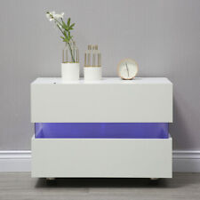 White 2 Drawers Bedside Table Cabinets Nightstand Units RGB LED Light UK