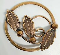 VINTAGE ESTATE JEWELRY SOLID COPPER SIGNED BELL COPPER LEAF BROOCH PIN