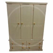 HAND MADE CAMBRIDGE TRIPLE WARDROBE IVORY/PINE(ASSEMBLED)