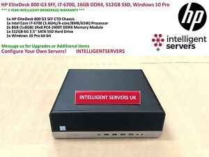 HP EliteDesk 800 G3 SFF, i7-6700, 16GB DDR4, 512GB SSD, Windows 10 Pro