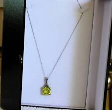 PENDANT 9CT GOLD WHITE CHAIN CITRINE PENDANT IN MARCACITE - BEAUTIFUL