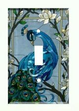 Blue Peacock Light Switch Cover Plate Wall Cover Peacock Stained Glass (style)