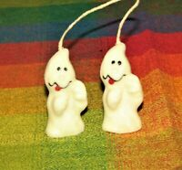 Ghost Spooks Candles Lot of 2 Vintage Joined Wick Hanging Candles Halloween