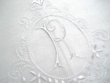 Large White Linen Guest Bathroom Hand Towel monogrammed R hemstitched whites