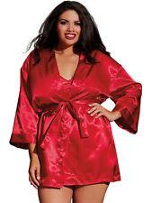 Plus Size Lingerie Sexy Charmeuse Satin Robe Set