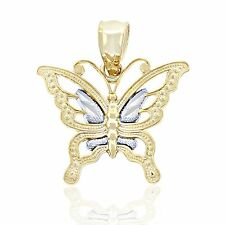 Gold Mini Butterfly Charm, 10k Solid Two-tone Gold, Butterfly Jewelry