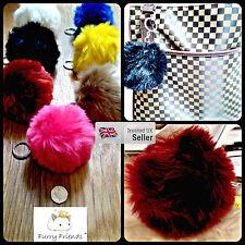 3 FOR 2!10cm Lucky Girls Cute Fluffy Soft Fur Ball Pom Charm Bag Pendant Keyring