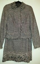 JON TWEED SKIRT SUIT/LINED/WOOL BLEND /PINK & GRAY SIZE:4