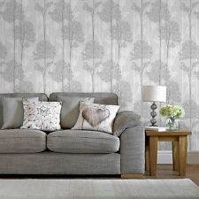 Superfresco Easy Eternal Grey / White Tree Print Wallpaper (Was £17)