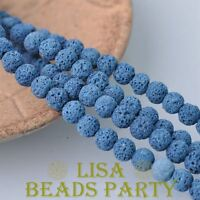 30pcs 8mm Round Lava Stone Natural Gemstone Loose Spacer Beads Deep Blue