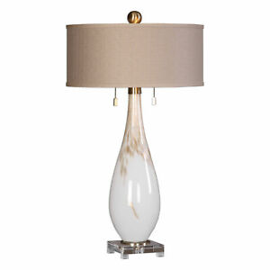 Elegant White Glass Gold Bronze Table Lamp Traditional Sculpted Contemporary