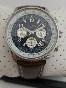 ROTARY EXCLUSIVE PILOT WATCH GS00644/05 MENS STAINLESS STEEL CHRONOGRAPH GENUINE