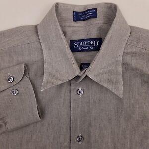 Stafford Men's No Iron Dress Shirt Size 16.5 Extra Tall 35/36 Striped Gray