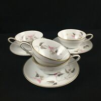 VTG Set of 4 Cups and 3 Saucers by Noritake China Arden 5603 Pink Floral Japan