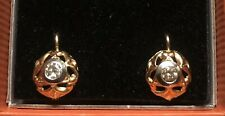 18 CT Yellow And White Gold Natural Champagne Diamond Earrings 0.30