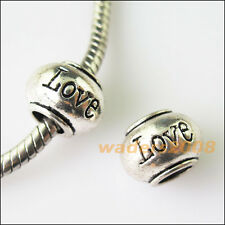 4 New Love Tibetan Silver Spacer Beads fit European Charm Bracelets 11.5mm