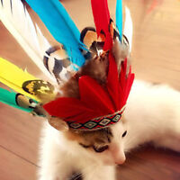 Pet Dog Cat Feather Hat Costume for Holiday Parties Halloween Indians Style