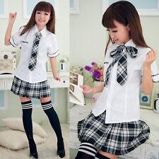 Sexy Japanese Japan School Girl Short sleeve Uniform Cosplay Costume Fancy Dress