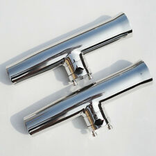 2PCS New Tournament Style Clamp On Boat Fish Rod Holder With Plastic Liner S.S
