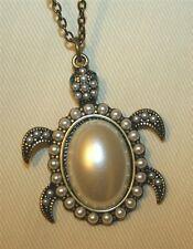Delightful Brasstone Simulated Pearl Turtle Tortoise Pendant Necklace