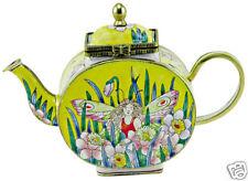 KELVIN CHEN Enamel Copper Handpainted Miniature Mini Teapot- Flower Fairy Garden