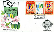 MUSTIQUE 1982 BIRTH OF PRINCE WILLIAM 60c GUTTER PAIR FIRST DAY COVER (a)