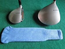 Knitted zebra style Fairway & Driver Golf Club head cover / Light Blue
