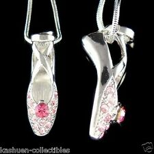 w Swarovski Crystal ~Pink BALLERINA Ballet Dance Shoes Slippers Pendant Necklace