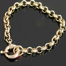 "7mm BELCHER LINK 14k GOLD EP 24"" Necklace with Bolt Ring Clasp"