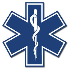 "Blue Star of Life 2"" Die Cut Reflective Emergency Medical EMT Decal with Border"