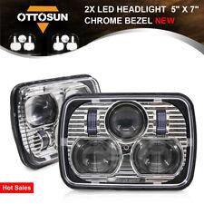 "OTTOSUN Pair 5"" X 7"" LED Headlight High & Low Beam LED Headlamp Chrome Bezel New"
