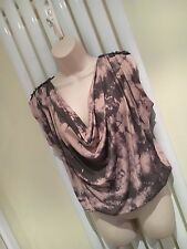 JANE NORMAN Stunning Dusty Pink Grey Cowl Neck Tunic Top Size 10 NEW