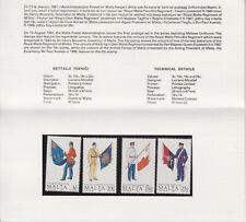 MNH MALTA STAMP PRESENTATION PACK 1991 MALTESE UNIFORMS SG 893-896