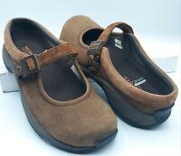 Merrell Womens 7M Encore MJ Mary Jane Shoes Dark Earth Brown Nubuck Clogs