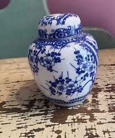 """Ginger Jar Vintage Blue & White Ginger Jar Asian Floral  5""""  Tall"""