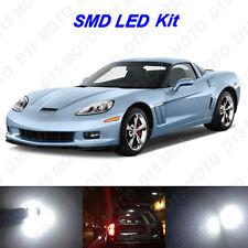 8x White LED Interior Bulb + License Plate Light for 2005-2013 Chevy Corvette C6