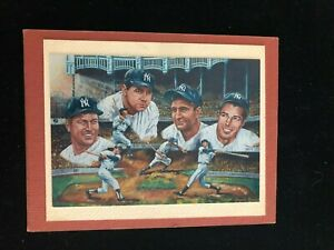 NY Yankees - Mantle Ruth Gehrig DiMaggio - Matted Photo of Angelo Marino Litho