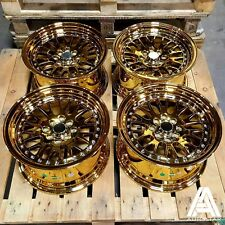 "White label PLUS 15"" x 8"" 4x114 et20 Gold Chrome alloys fit Honda Integra Type R"