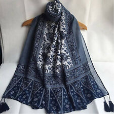Women Fashion Blend Long Hijab Scarf Shawl Wrap Pashmina Scarf Floral Scarve US