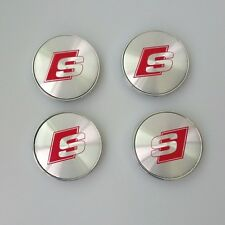 AUDI S-LINE ALLOY WHEELS CENTER CAPS SET (4) Face 60mm Clip 58mm
