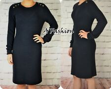 NEXT NEW NAVY BLUE LONG SLEEVED LADIES SOFT KNIT WORKWEAR DRESS 194