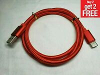 RED Braided Type USB-C to USB-A Fast Charging Cable Quick Charger Sync Cord