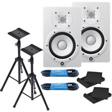 "Yamaha HS7W 6.5"" White Powered Studio Monitor Bundle W/ Free Stands & More *New*"