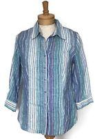 Coldwater Creek Women's Blouse Size 8 Green Linen Striped Long Sleeve Shirt