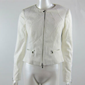 Long Sleeve White Zip Up Vest High Double Layered Floral Engraved Print Size 8
