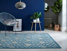Piatto Oro Blue Indoor Outdoor Geometric Flatweave Rug in various sizes