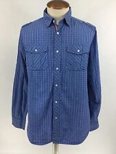 Paper Denim & Cloth PD&C Blue Long Sleeve Casual Shirt Size L