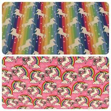 "Unicorns and Rainbows - 100% Cotton Poplin Fabric Material - 44"" (112cm) wide"