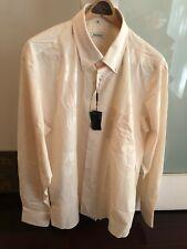 Balmain Men's Dress Shirt 2XL 100% Cotton Off-White/Salmon