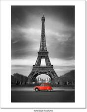 Eiffel Tower And Old Red Car - Paris Art Print Home Decor Wall Art Poster